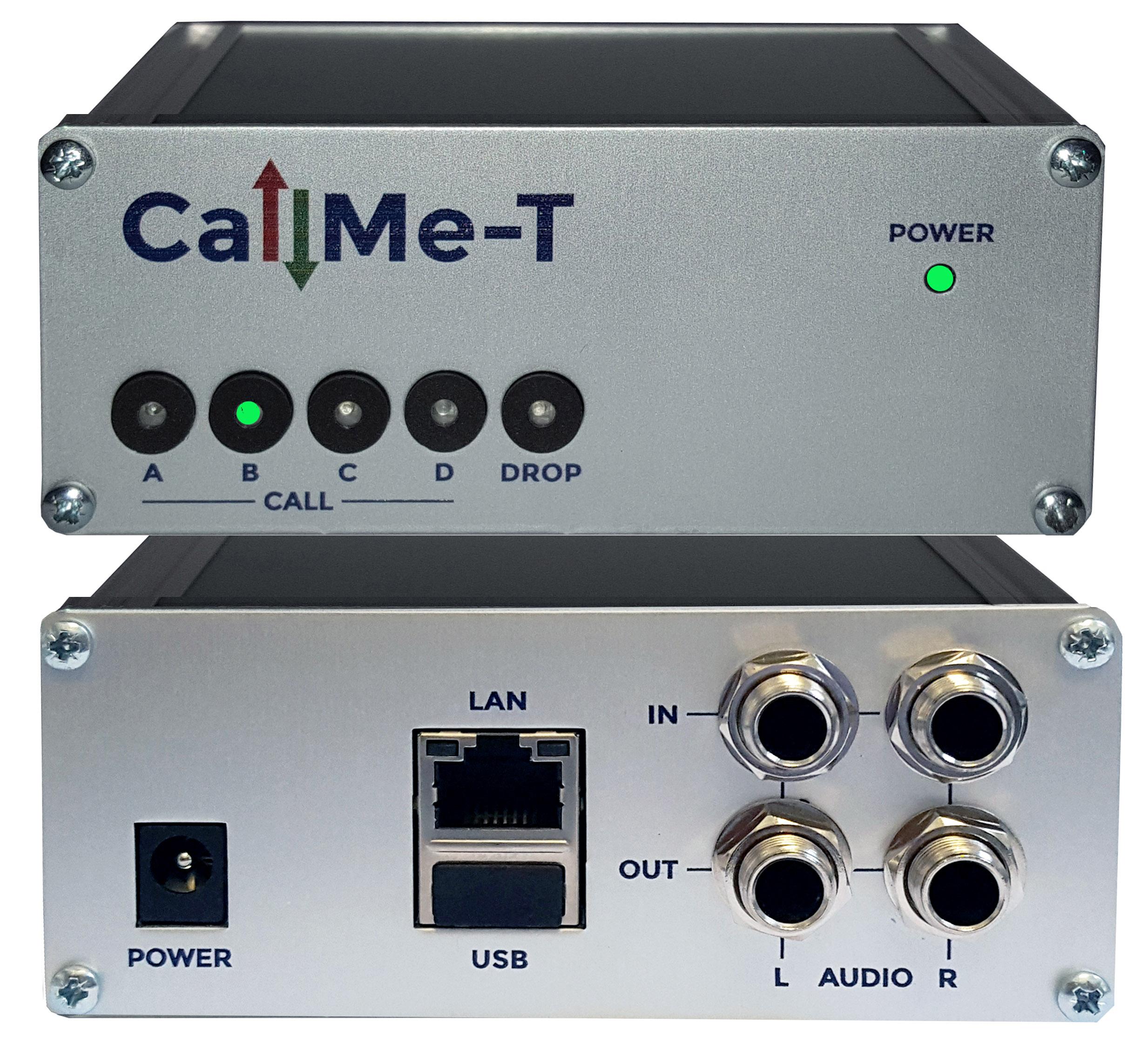 CallMe-T avant et arrière, avec les boutons Quick-Dial, la balance stéréo, l'USB audio et SmartStream. © Vortex.