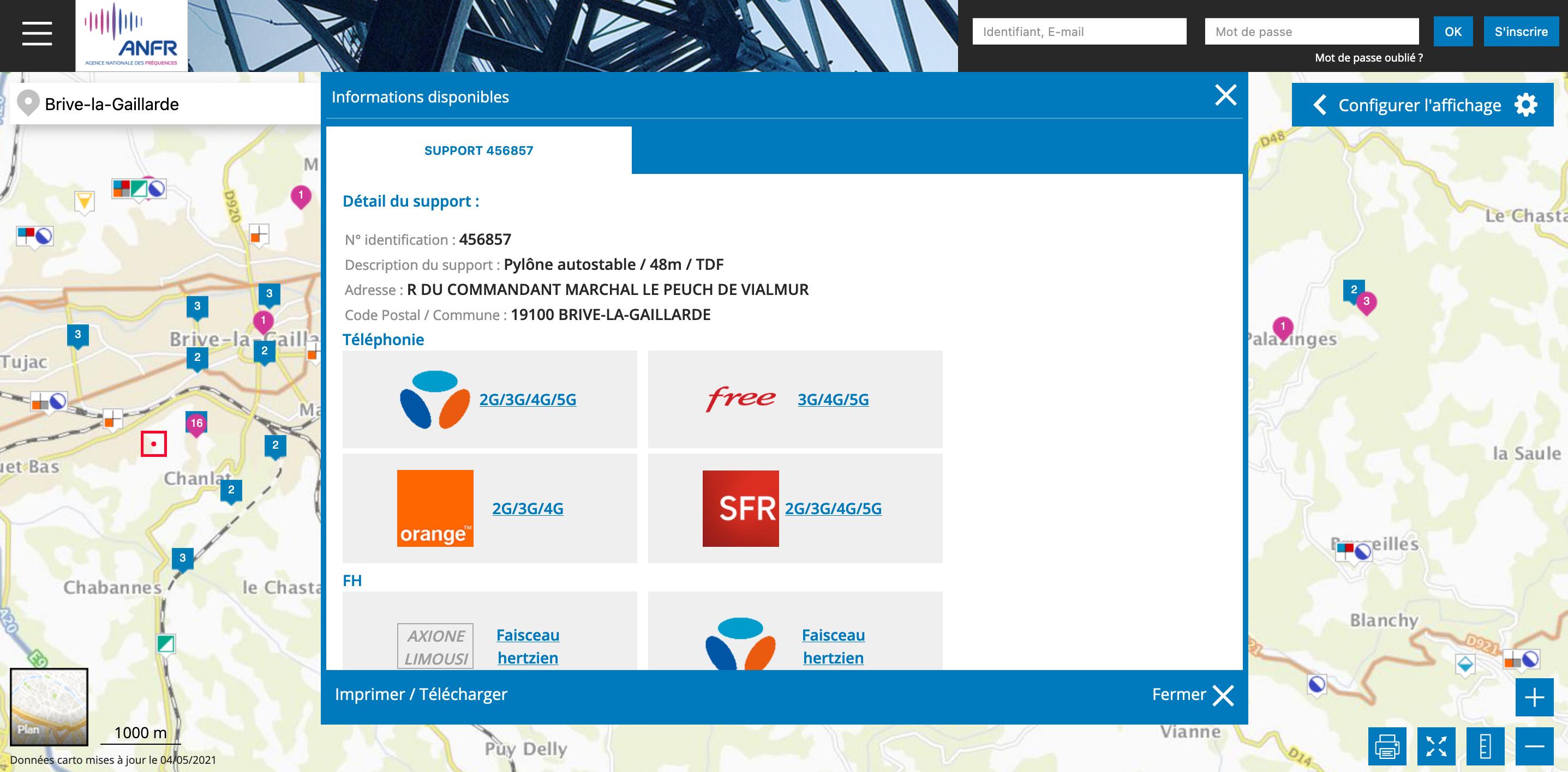 Pour voir avec précision, dans un territoire donné, la situation du déploiement des réseaux mobiles, le site Cartoradio.fr permet de zoomer sur une zone de votre choix et de voir quels sont les sites autorisés par l'ANFR, et pour quel opérateur