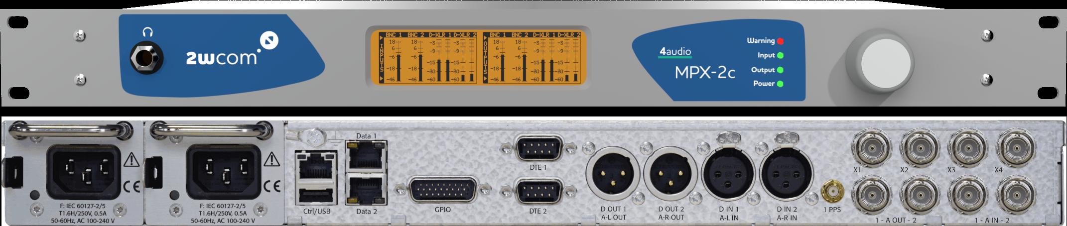 Avant et arrière du codec MPX-2c. © 2wcom.
