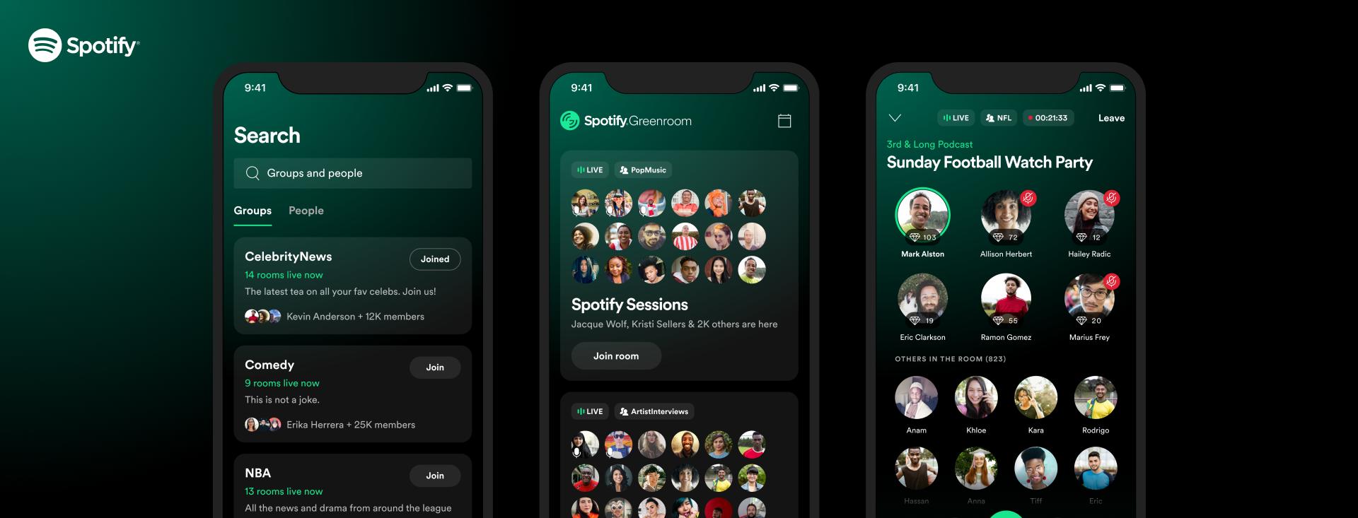 """""""Greenroom"""" : la nouvelle offre de live audio de Spotify"""