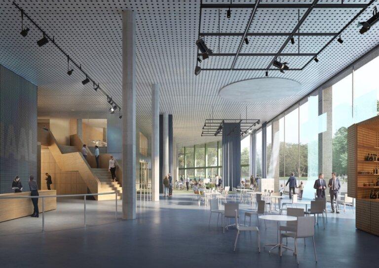 Le rez-de-chaussée octogonal disposera d'un hall spacieux. Image © VRT