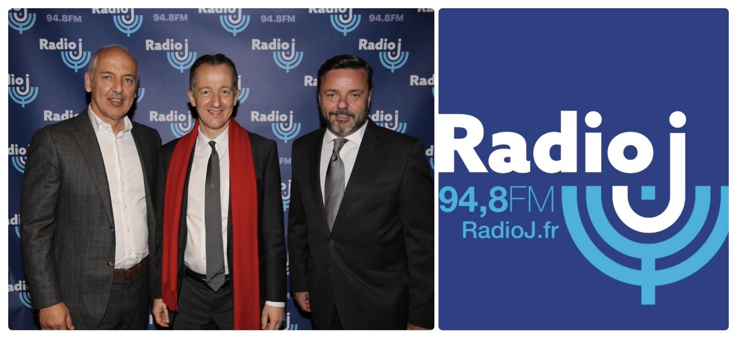 Dominique Romano (Président actionnaire Radio-J), Christophe Barbier (Journaliste Radio-J) et Emmanuel Rials (Directeur Général Radio-J)