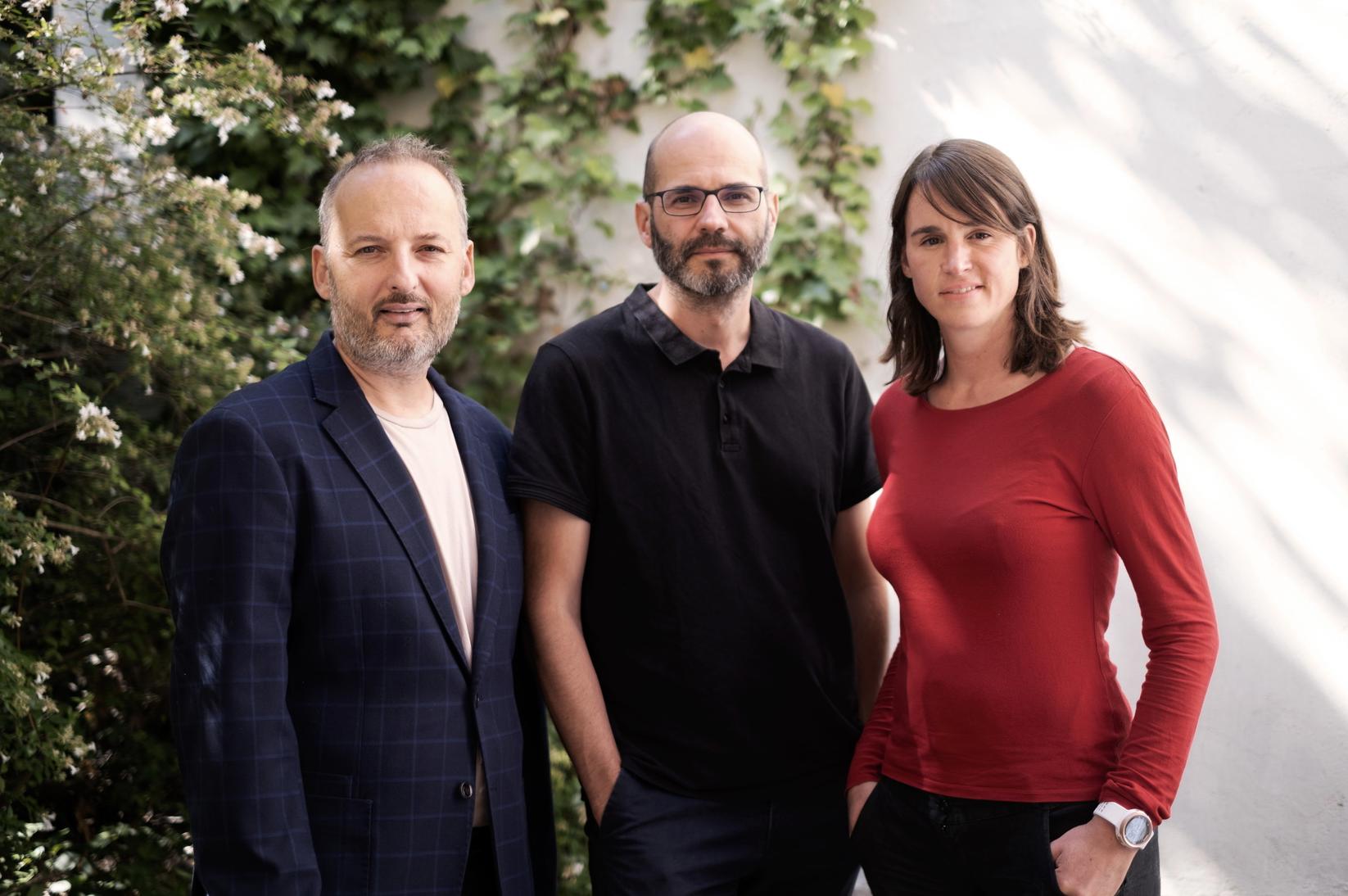 Joël Ronez, David Carzon et Gabrielle Boeri-Charles, les dirigeants de Binge Audio © Flora Aussant