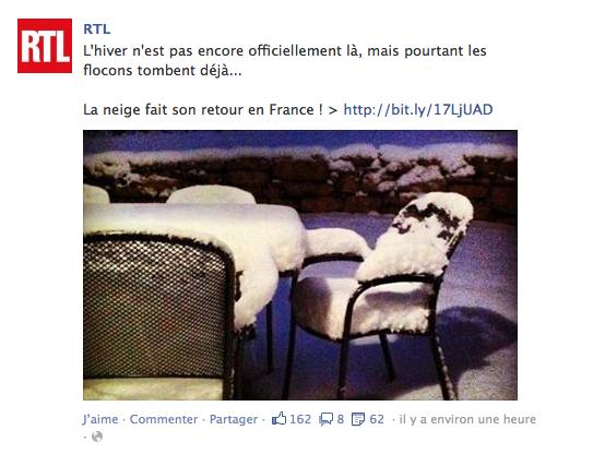 Il a neigé sur Facebook