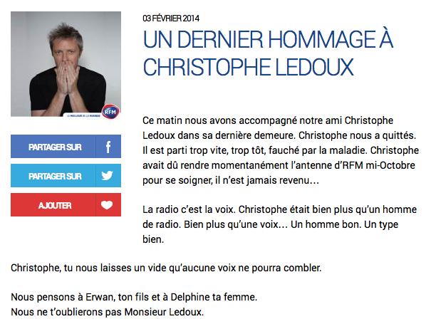 Christophe Ledoux nous a quittés