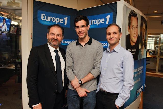 François Geffrier lauréat de la bourse Lauga-Delmas avec Denis Olivennes et Fabien Namias  © Gil Lefauconnier- Capa Pictures Europe 1