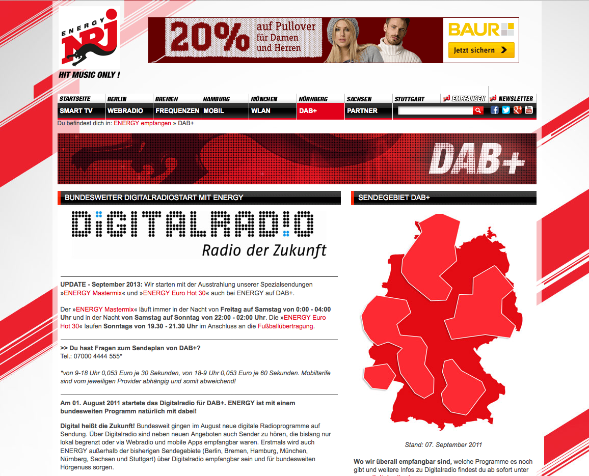 La couverture DAB+ de NRJ en Allemagne