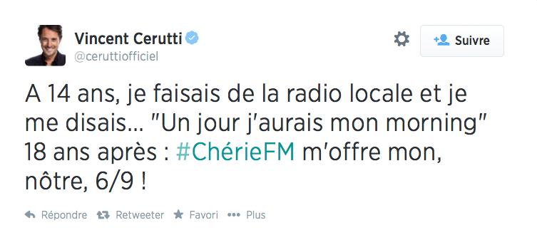 Vincent Cerutti confirmé sur Chérie FM