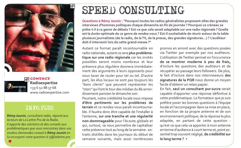 Flashback en 2012 - Speed Consulting de Rémi Jounin