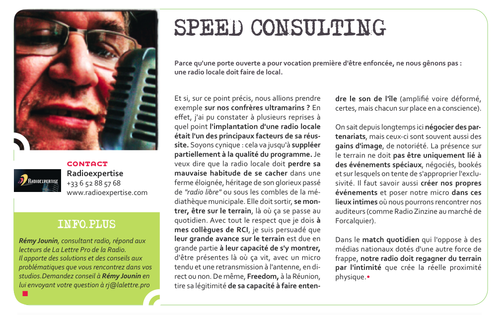 Flashback en 2013 - Speed Consulting by Rémy Jounin