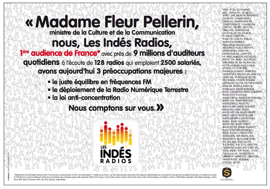 Les Indés Radios en appellent à la ministre