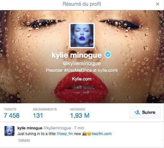 Kylie Minogue fan de la webradio Teez FM