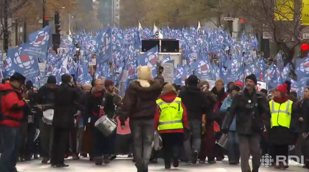 Manifestations monstres pour soutenir Radio-Canada