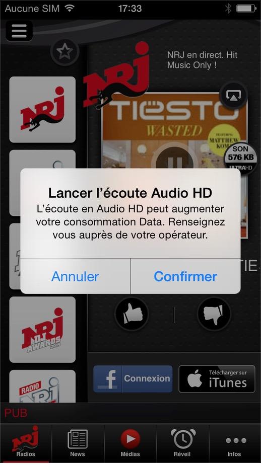 NRJ sur les mobiles en son ultra haute définition