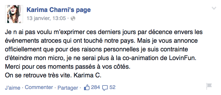 "Karima Charni quitte ""officiellement"" Fun Radio"