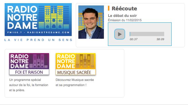 Cliquez sur le player pour lancer le débat diffusé sur Radio Notre-Dame