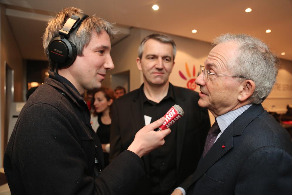 Guillaume Meurice, Philippe Chapot et Olivier Schrameck au Salon de la Radio © Serge Surpin