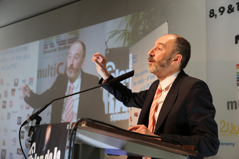Pierre Bellanger, fondateur et PDG de Skyrock, a captivé l'auditorium autour de belles envolées lyriques dont il a le secret © Serge Surpin