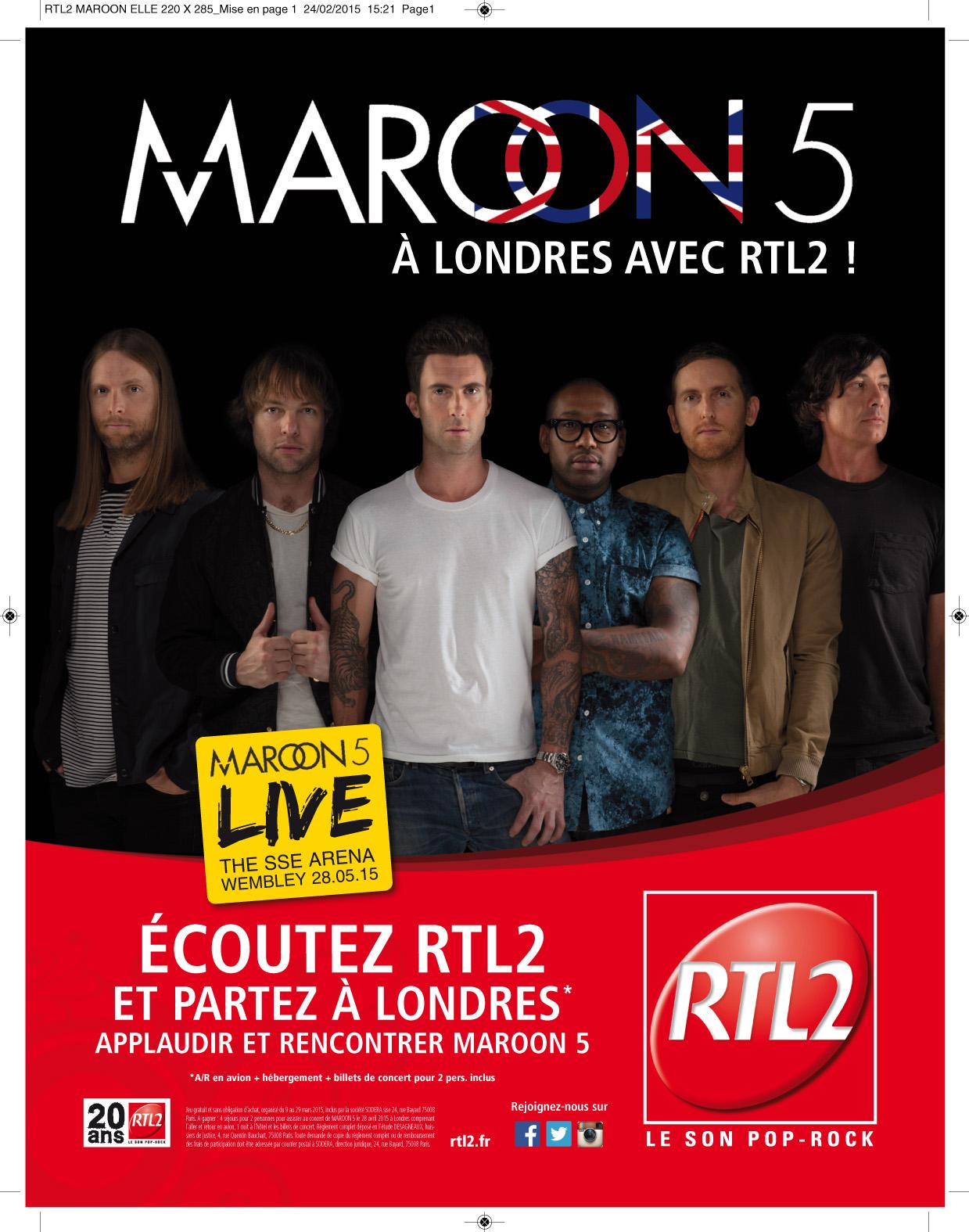 Maroon 5 invite les auditeurs à écouter RTL2