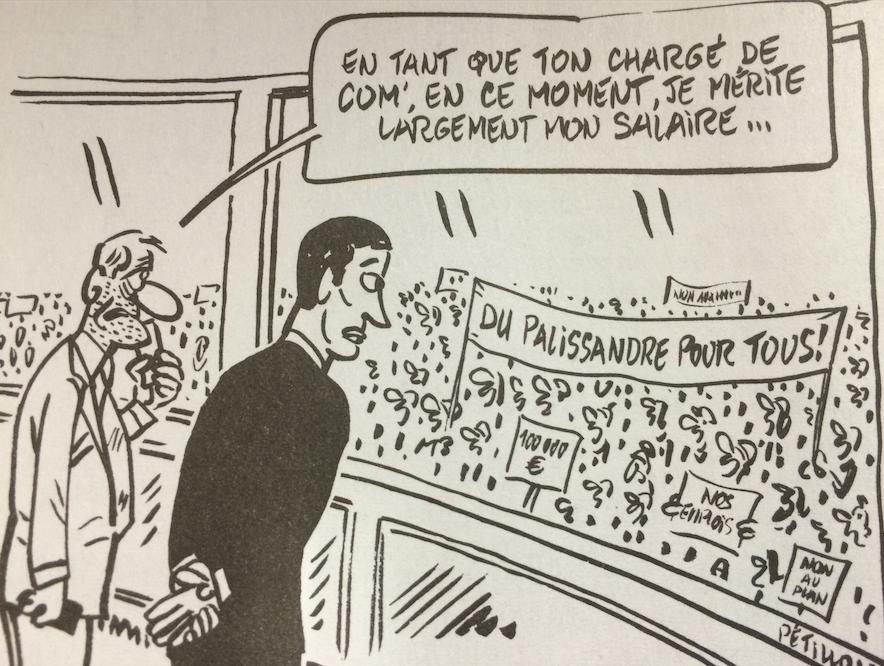 """Illustration de l'article """"La com' de Mathieu Gallet aussi chère que son bureau"""" paru ce matin"""