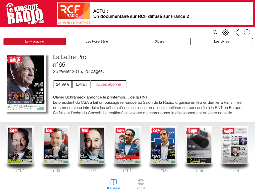 Kiosque Radio en version iPad