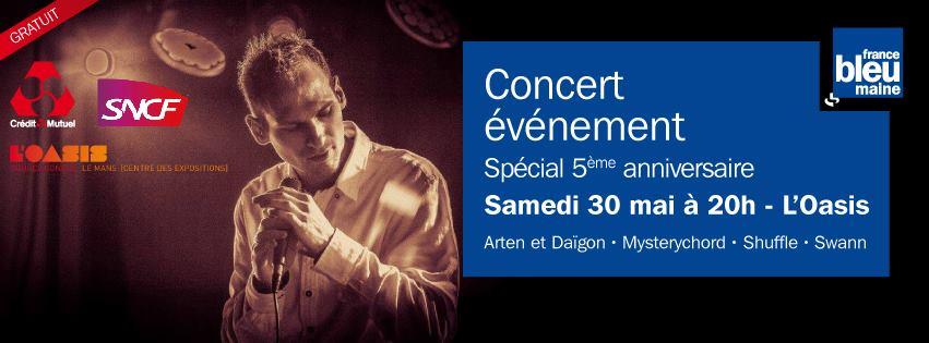 Samedi 30 mai, un grand concert gratuit sera organisé à l'Oasis au Mans avec plusieurs groupes locaux proposant des styles musicaux très variés