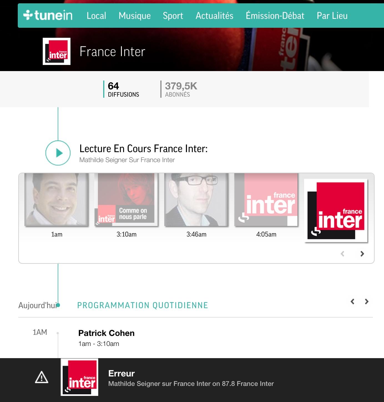 Radio France absente de TuneIn