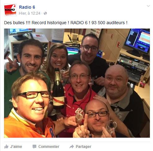 Dans la catégorie des grosses radios de territoire, Radio 6 s'offre une audience de légende en frôlant les 94 000 auditeurs. Ça valait bien un selfie...