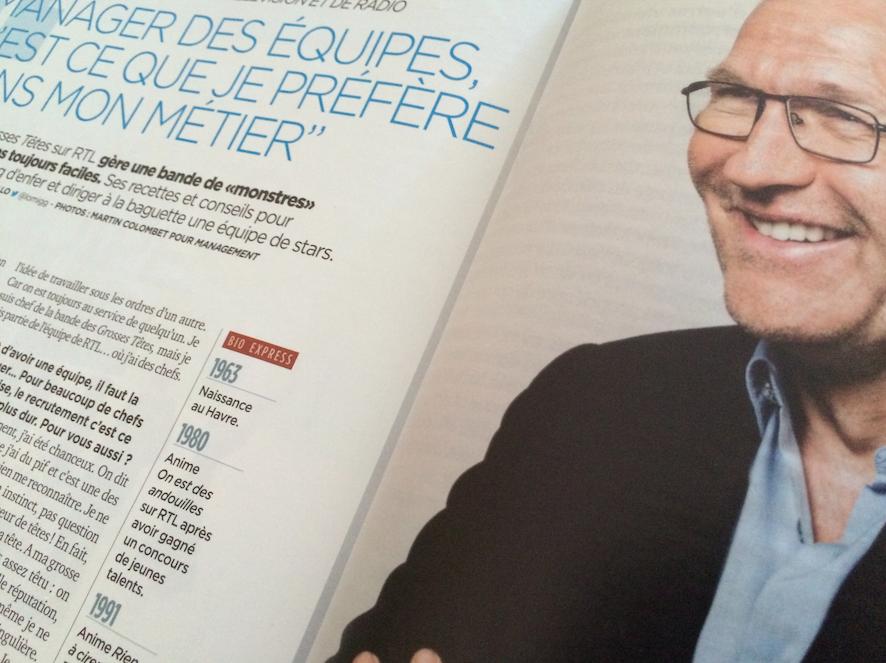 """""""En matière de recrutement, je suis pour tout tester, tout tenter... Je suis un peu kamikaze"""" explique Laurent Ruquier dans le mensuel Management"""
