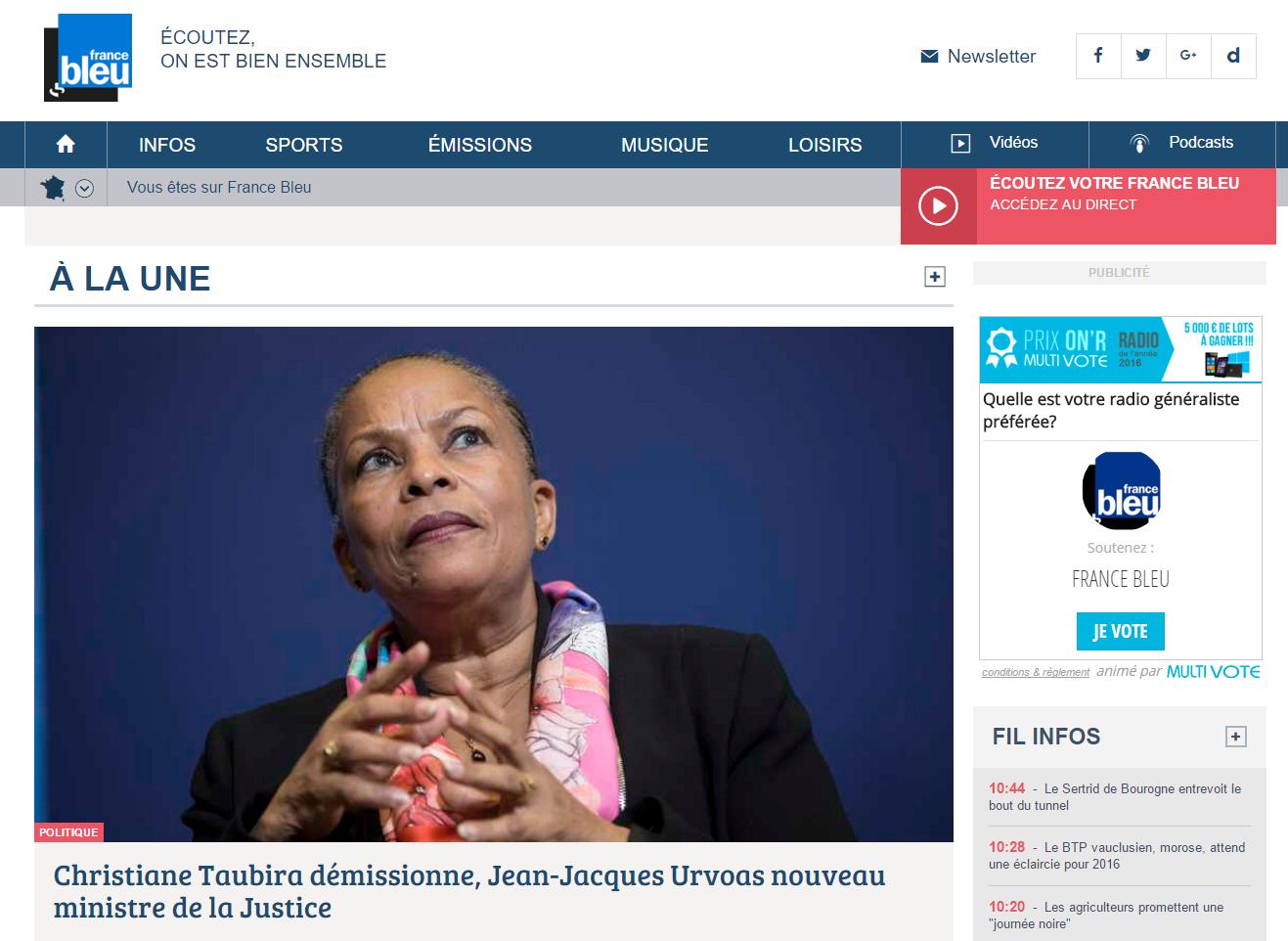 France Bleu a intégré le code iframe sur la page d'accueil de son site et mobilise fortement sa communauté depuis ce matin