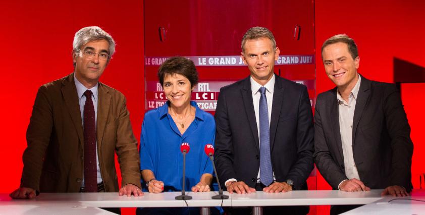 "L'équipe du ""Grand Jury RTL – Le Figaro – LCI""  au complet : Alexis BREZET, Elizabeth Martichoux, Christophe Jakubyszyn, Benoît Gallerey ©  Romain BOE / Abaca Press"