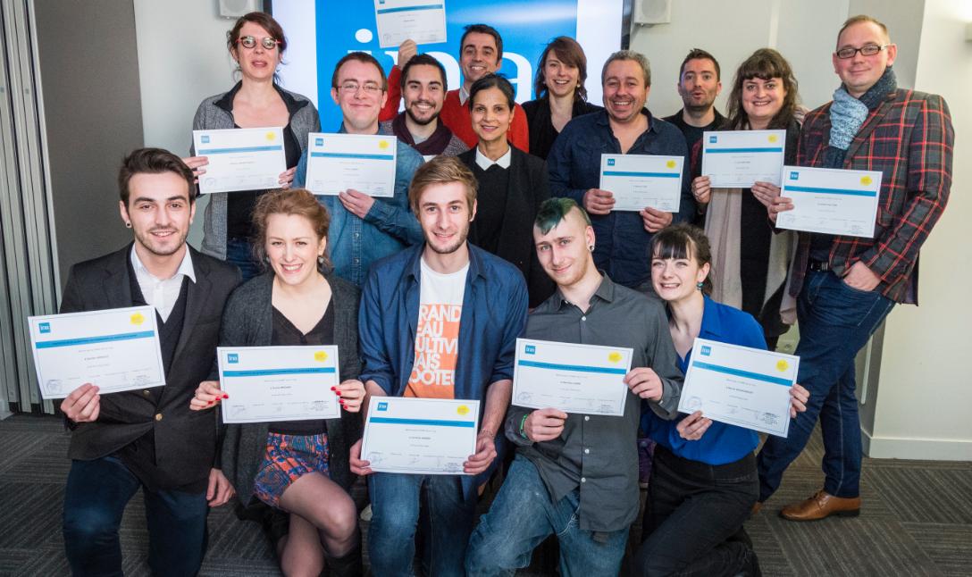 Les 14 alternants du CQP Animateurs radio ont obtenu leur diplôme.