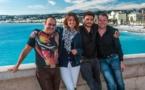 L'équipe des Lèv'Tôt sur Kiss FM (de gauche à droite) : Eric, Léa, Bidule et Jérem