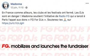 """La chanteuse Madonna soutient l'opération """"FG for DJs"""""""
