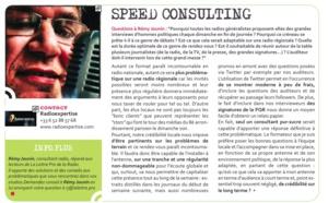Flashback en 2012 - Speed Consulting de Rémi Jounin