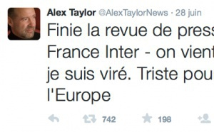 France Inter : le tweet d'Alex Taylor passe mal