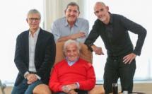 De gauche à droite : Bernard Lehut, Yves Calvi, Jean-Paul Belmondo, Stéphane Boudsocq © Laurent Vu/Sipa Press/RTL